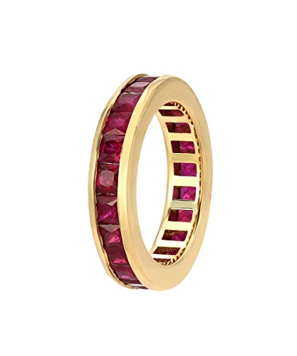 14K Yellow Gold Princess Cut Ruby Channel Set Eternity Band, 5 Carats (Princess Eternity Band Set Diamond)