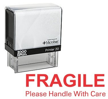 FRAGILE Please Handle With Care Office Self Inking Rubber Stamp - Red Ink ()