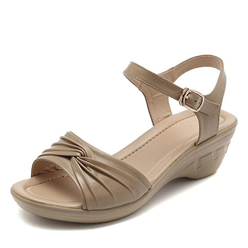 High Bottom L Leather Soft YC Shoes Non Slope Fish 36 Heeled With Sandals Girls Summer Women brown Mouth Large Slip a8dWZq