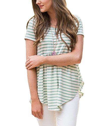 Vemvan Womens Short Sleeve Striped Pleated Round Neck Irregular T Shirts Casual Tunics Swing Tops