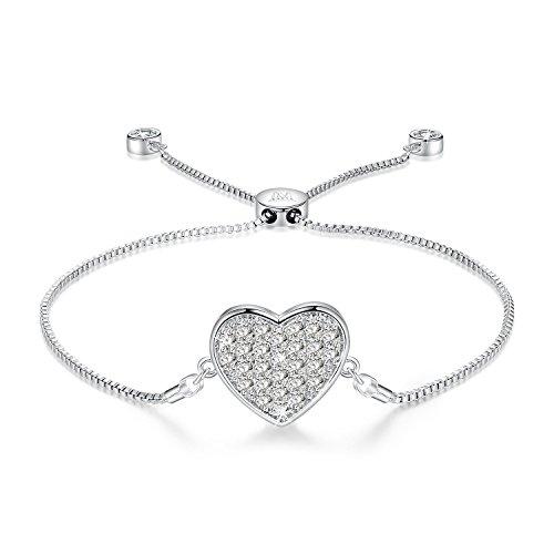 NINAMAID Pure Love Heart Shaped Pendant Cubic Zirconia White Gold Plated Expandable Bolo Bracelet ()
