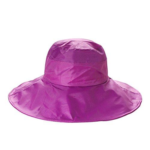 - Outdoor UV Protection Rain Cap Waterproof Rain Hat Wide Brim Bucket Hat (Magenta)