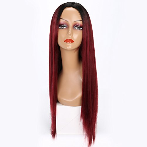 MISSWIG Ombre Color Cosplay Wigs Wine Red Long Straight Wig Hair 100 Kanekalon Synthetic Heat Resistant Straight Wig For Women