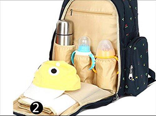 Mummy mochila, multi-funcional de gran capacidad de las mujeres embarazadas que se producen paquete, materna y el niño hombros bolsa, la mano bolsa de la madre ( Color : Blue flowers ) Blue flowers