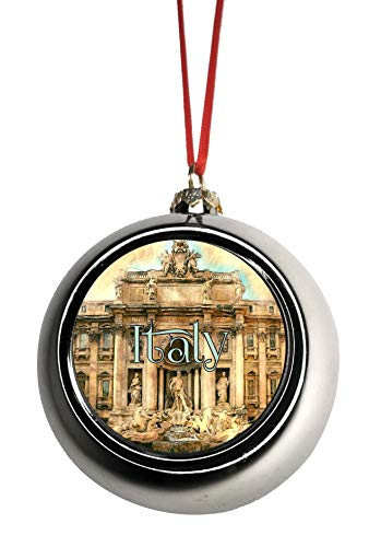 Jacks Outlet Rome Ornament - Rome Italy Christmas Ornament Trevi Fountain Ornament Italian Ornament Italian Themed Christmas Tree Ornaments Ornament Christmas Décor Silver Ball Ornaments