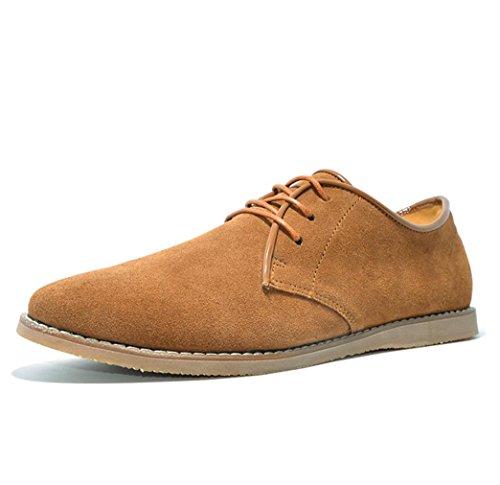 Heart&M zapatos de cuero de los hombres casual ovalada ante corte bajo light brown