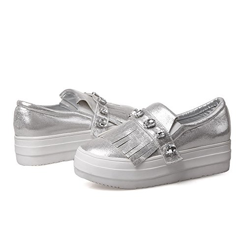 On Kitten Pull Women's Pumps Round Soft Shoes Silver Closed VogueZone009 Heels Solid Material Toe wYAzx88q