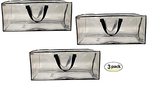 Extra Cart - Earthwise Clear Storage Bags Heavy Duty Extra Large Transparent Moving Totes w/ Zipper closure Reusable Backpack Carrying Handles - Compatible with IKEA Frakta Hand Carts ( 3 Pack )