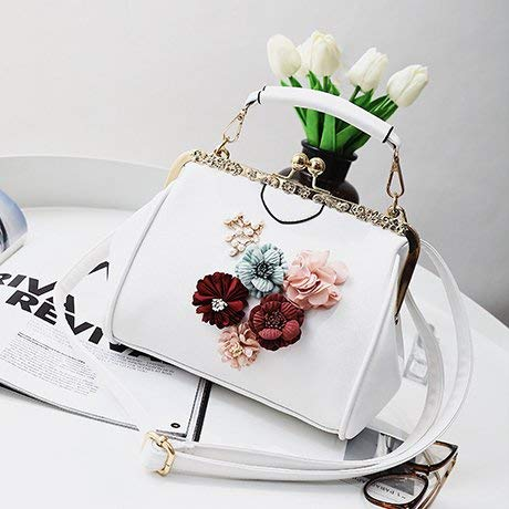Main Le Sac White Bandoulière Soir Pochette Avec Femme Du White À Fleurs En Nouveau Métal couleur Pour ZOEIqI