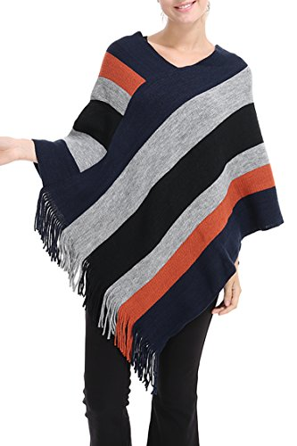 Pink Queen Women's Striped Batwing Poncho Cape Cloak Shawl Pullover - Girls Poncho Striped