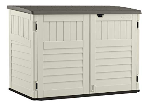 Suncast Stow - Away Horizontal Storage Shed - Outdoor Storage Shed for Backyards and Patios - 70 Cubic Feet Capacity for Garbage Cans, Tools and Garden Accessories - Vanilla and Stoney (Best Way To Clean Soft Top Roof)