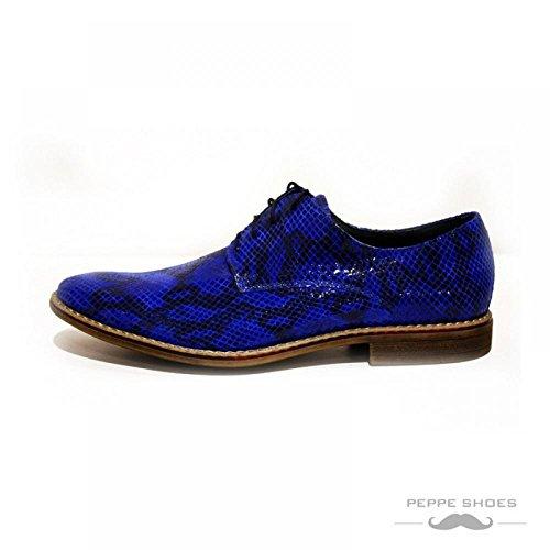 PeppeShoes Modello Giulio - Handgemachtes Italienisch Leder Herren Blau Stiefeletten Chelsea Stiefel - Rindsleder Weiches Leder - Schlüpfen
