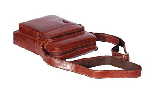 Pour Des Hommes bronzage Une Croix le corps sac Petit sac en cuir véritable WEIPA