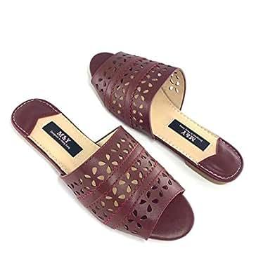 M&Y ladies flat slippers -Red