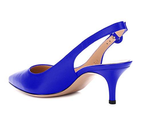 uBeauty Slingback Damen Pumps Kitten Heels Sandalen Damen mit Absatz PU Material Pumps 65MM Heels Spitze Zehen Sexy Schuhe Blau