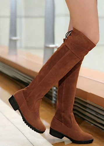 Maybest Womens Winter Low Heel Thigh High Over The Knee Long Riding Boots Brown qmbDXj