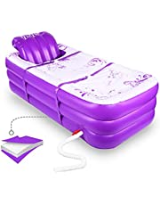Inflatable Portable Bathtub, Inflatable Bath Tub for Adult Home Spa and Hot Bath and Ice Bath, Foldable Freestanding Bathtub with Assemblable Seat Cushion(Purple)