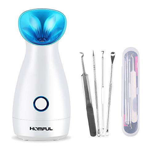 HOMFUL Upgraded Nano Ionic Facial Steamer Warm Mist Humidifier Atomizer Humidifier Moisturizing Face Spa Steamer Blackhead Remover Kit (Best Facial Steamer For Blackheads)