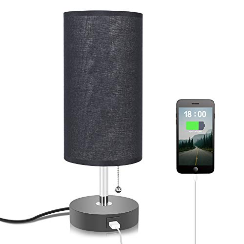 Black Table Lamp with USB Charging Port, Seealle Bedside Nightstand Lamp with Black Fabric Lampshade, Pull Chain, Wooden Base (Silver Shade Lamp Black With)