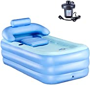 CO-Z PVC Portable Foldable Inflatable Bathtub Free Standing Bath Tub with Electric Air Pump