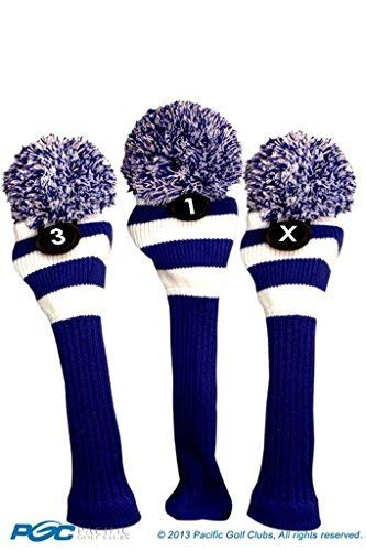 Majek Golf Club 1 3 X White and Blue Limited Edition Driver and Fairway Wood Head Covers Fits 460cc Drivers Tour Knit Retro Vintage Pom Classic Long Neck Metal Longneck Woods Headcovers 1 Womens Fairway Wood