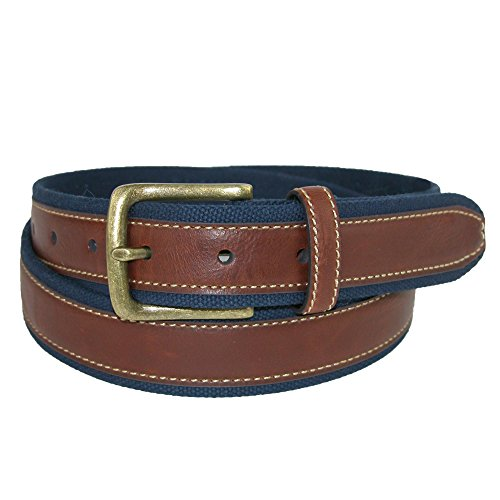 Aquarius Men's Canvas and Leather Belt, Small, Navy ()