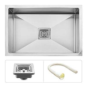 Ruhe Premium Grade Stainless Steel Handmade Kitchen Sink 24x18x9 Inches (Matt Finish)