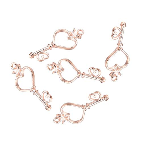 PandaHall Elite 20 Pcs Alloy Magic Wand Heart Key Open Bezel Charm Pressed Flower Blank Frame Hollow Mould Pendants 39x18x3mm for UV Resin Crafts Jewelry Making Rose Gold