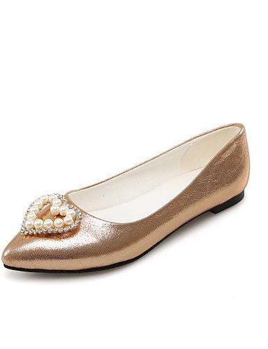 de us12 Flats cn46 Plata zapatos golden señaló Oro uk10 talón eu44 carrera vestido mujeres Toe oficina PDX y las casual plano qp8T85w