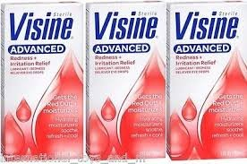 Visine Advanced Relief Lubricant/Redness Reliever Eye Drops 0.2fl oz Travel Size (Pack of 3)