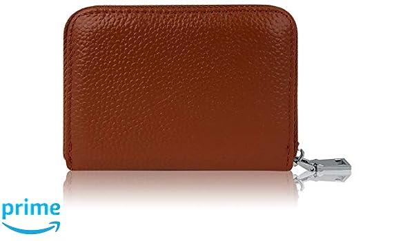 Premium Crédito de tarjetas de cartera de piel real con acero inoxidable cremallera Zipper 12 compartimentos RFID - Pequeño Mini Slim Smart - Tarjetas de ...