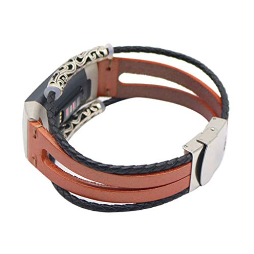Junshion Fashion Style Genuine Leather Watch Band for Fitbit Charge 3,Replacement Leather Wristband Band Strap Bracelet for Fitbit Charge ()
