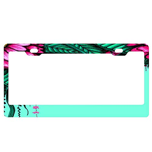 (SDGlicenseplateframeIUY Bold Pink Green Forest with Delicate Dangling Flowers Custom License Plate,Vanity Sign Auto Tag Car Truck Accessory (12X6))