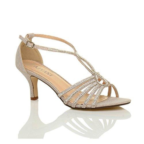 Damen Hoher Absatz Hochzeit Elegant T-Riemen Riemchensandalen Schuhe Größe 7 40