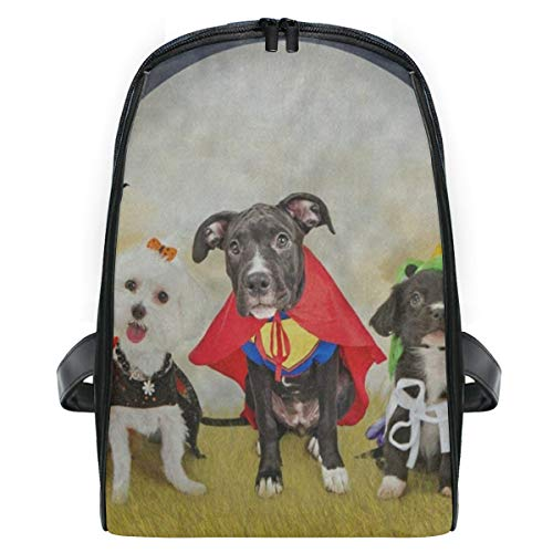 Kid's Backpack Hipster Puppy Dog Dressed In Halloween Costumes Personalized Shoulders Bag Classic Lightweight Daypack for -