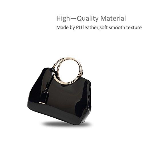 Handbag PU Leather Top Black Crossbody amp;Doris Handle Waterproof Shoulder Black Satchel Women Bright Nicole Purse Tote Bag F6ROx11w