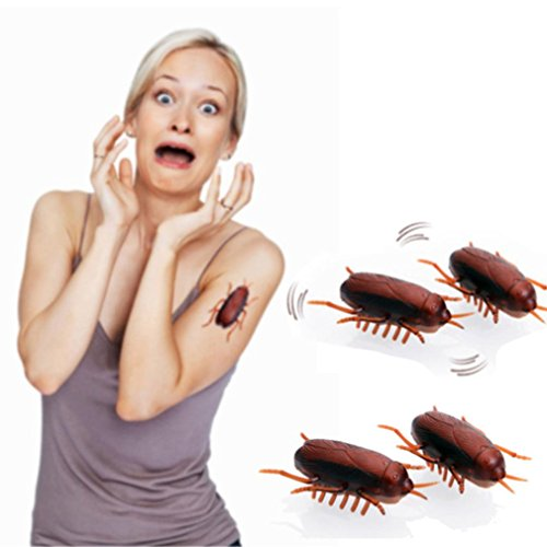 Funny Simulation of Cockroaches Pet Cat Dog Kitten Interactive Training Play Toy (Coffee, Size: 4.5CMX 2CMX 2CM)