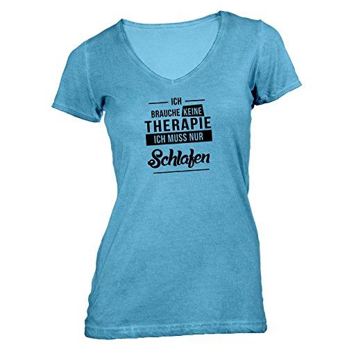 Monkiez Damen T-Shirt V-Ausschnitt - Ich Brauche Keine Therapie Schlafen - Therapy Urlaub Sleep Hellblau gfjUOY50