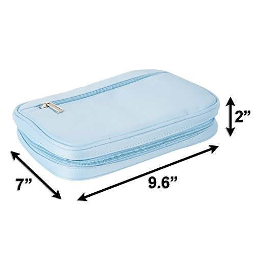 Lily & Drew Travel Jewelry Storage Carrying Case Jewelry Organizer Removable Pouch (V1 Light Blue) by Lily & Drew (Image #6)