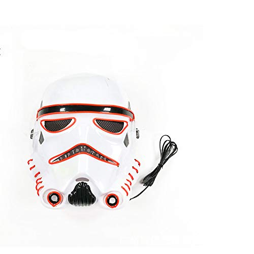 Mask LED Light up Purge Mask Frightening Wire Cosplay for Christmas Festival Parties Costume Sound Induction Flash (red-24218cm/Voice -