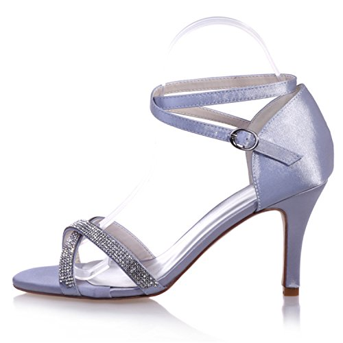 Clearbridal Women's Satin Wedding Bridal Shoes Open Toe Sandal for Evening Prom Party High Heel with Crystal ZXF9920-05 Ivory X7k1PrQ