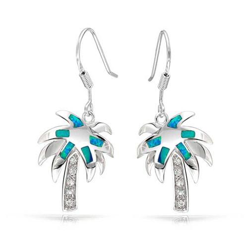 Created Blue Opal Beach Tropical Inlay Palm Tree Dangle French Wire Earrings For Women 925 Sterling Silver