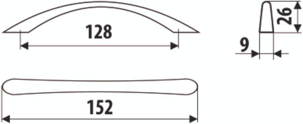 1 Tirador DECOR02 ba/ño o cualquier armario. N/íquel satinado CC 128 1 unidad//Tiradores para cocina