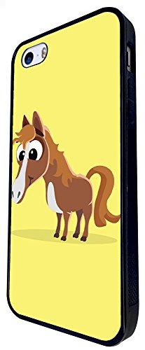 1147 - Cute Fun Horse Animal Drawing Yellow Design iphone SE - 2016 Coque Fashion Trend Case Coque Protection Cover plastique et métal - Noir