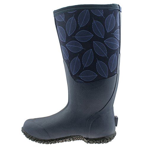 Bogs Womens Carver Tall Leafy Rubber Boots Blue