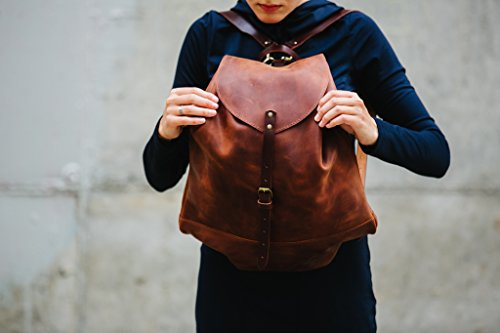 Leather backpack Woman backpack Ladies backpack Women's daily pack Cognac brown leather backpack Small backpack Women's gift by Kruk Garage
