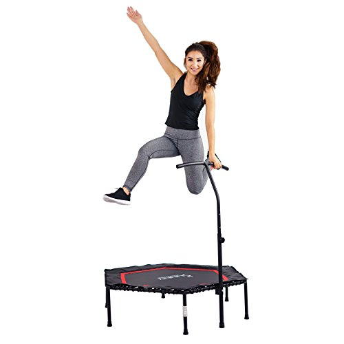 Sunny Health & Fitness NO. 079 Hexagon Trampoline Rebounder with Premium High Bounce Bungee Cords and Adjustable Handlebar for Fitness