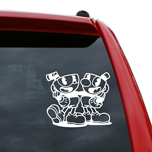 Cuphead and Mugman  5 x 5.9 Vinyl Decal Window Sticker for Cars, Trucks, Windows, Walls, Laptops, and More.