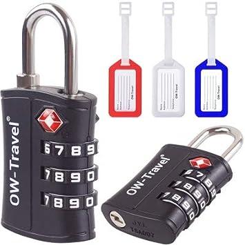 Candados TSA Combinacion Antirobo Maleta + 3 Etiquetas Maletas Viaje - Alta Seguridad Combinación 3 Digitos. Cerradura para Caja Herramientas ...