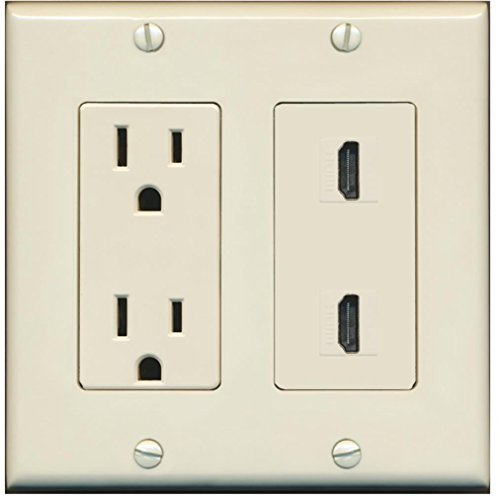 (RiteAV - 15 Amp Power Outlet 2 Port HDMI Decora Type Wall Plate - Light Almond)